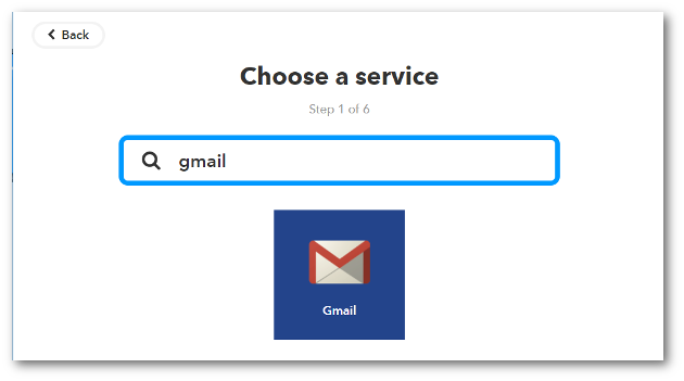If you haven't previously connected IFTTT and GMail, you will see a Connect button that you will need to click in order to connect the two services