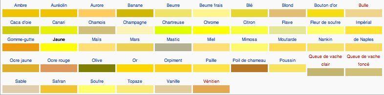 CONSEILS - • Vocabulaire : Les Couleurs (Jaune/Orange/Brun/Noir ...