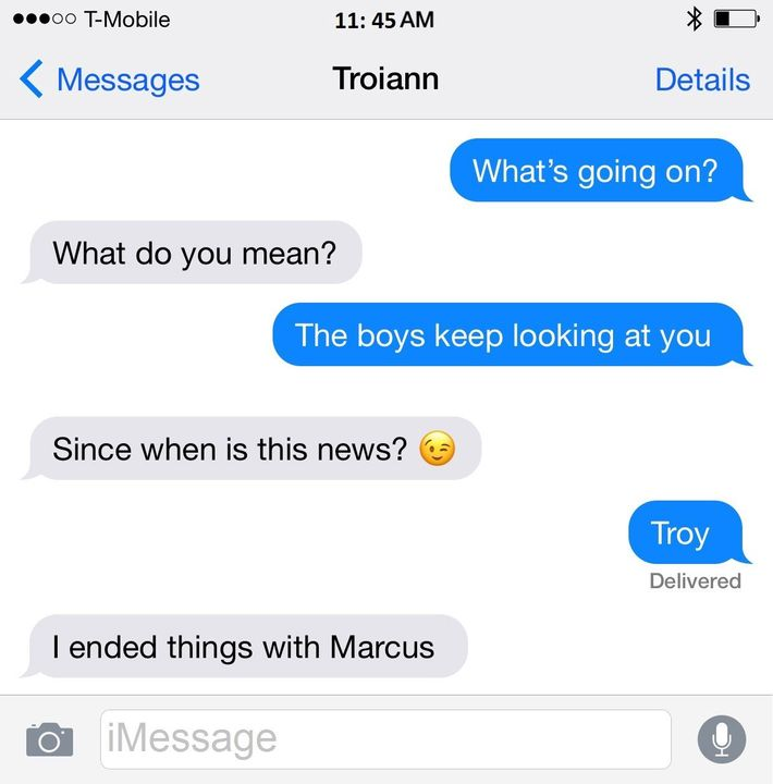 Troiann took the opportunity to read over my text and reply