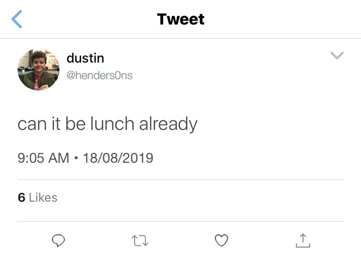 - time skip to 12:30pm, lunchtime -