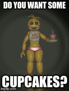 *Mike, Jeremy and Vincent (Decided to call purple guy Vincent, it gets annoying for him) were sitting at the desk and Thia (Toy Chica) comes up and asks*