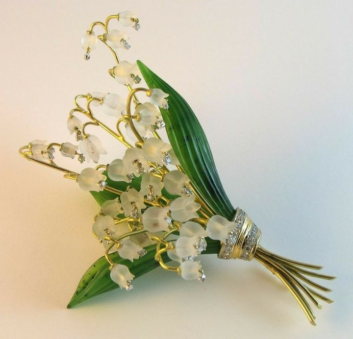 Carved Rock Crystal, Nephrite and Diamond Lily Of The Valley Brooch