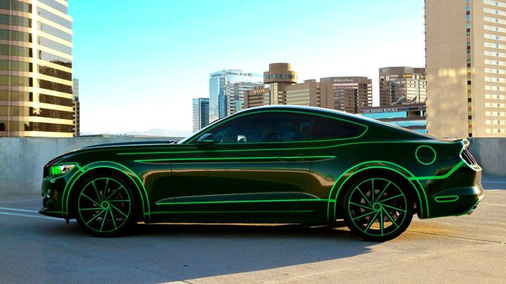 I scan up and down the black mustang with neon green trim and outline, nearly salivating at the sight