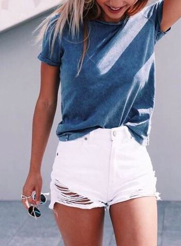 1) White Jeans, Solid color blue shirt
