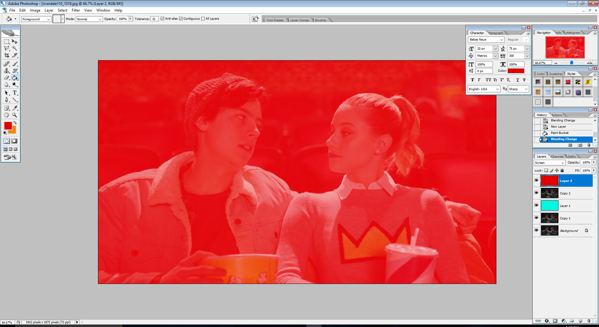 create a new layer above Copy 2; fill it with a bright red (preferably #e10000); set the blending mode to Screen