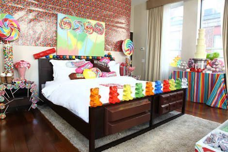 Oh, no, no ,no, a canny room with gummy bears and lollipops, gum balls and a chocolate fountain