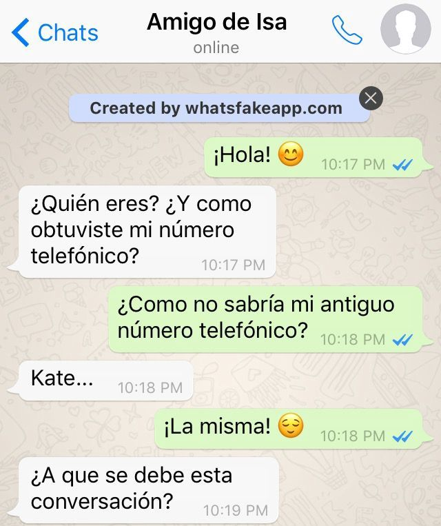 "Chat entre Kate y ""No es Kate"""