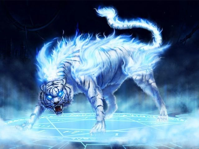 It belonged to Kokujin D'Infernal, Tamie's muse! Then, a more terrible thing appeared before their eyes - a giant, Twelfth ring White Tiger, but no ordinary one - its eyes shone blue, it was covered with Blue Fire all over its body, and it snarle...