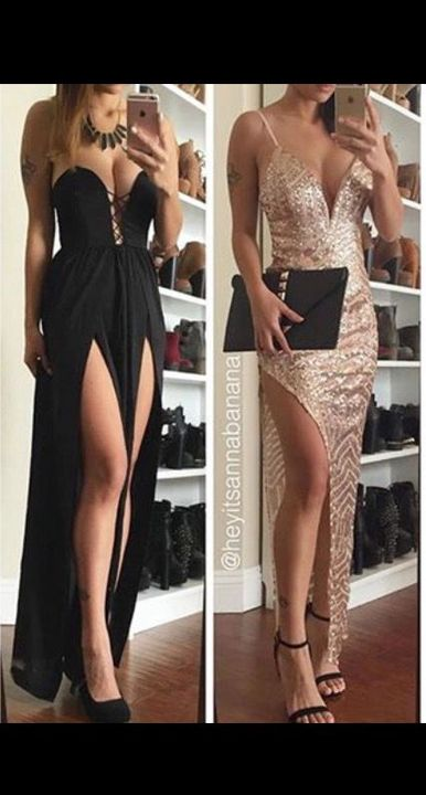 (Left-Amanda)(right-Jess)I change into the dress and put the high heels on, then go outside to where she is