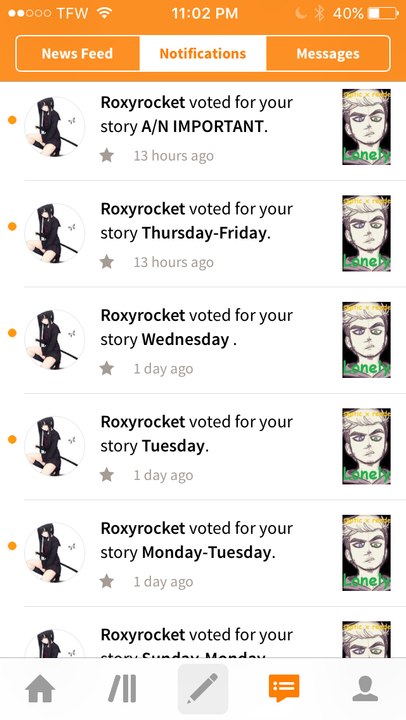 so @Roxyrocket voted for I think all my chapters and it means the WORLD to me! I never thought that I would have any one read my books, so when I look at my notifications and see people voting or adding my book to there library, I'm on cloud 9
