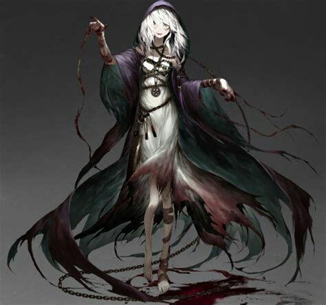 Image result for evil white hair anime girl